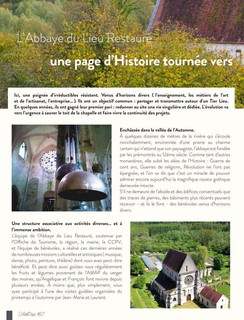 Parution patrimoine Ardoise magazine Abbyae de Lieu Restauré